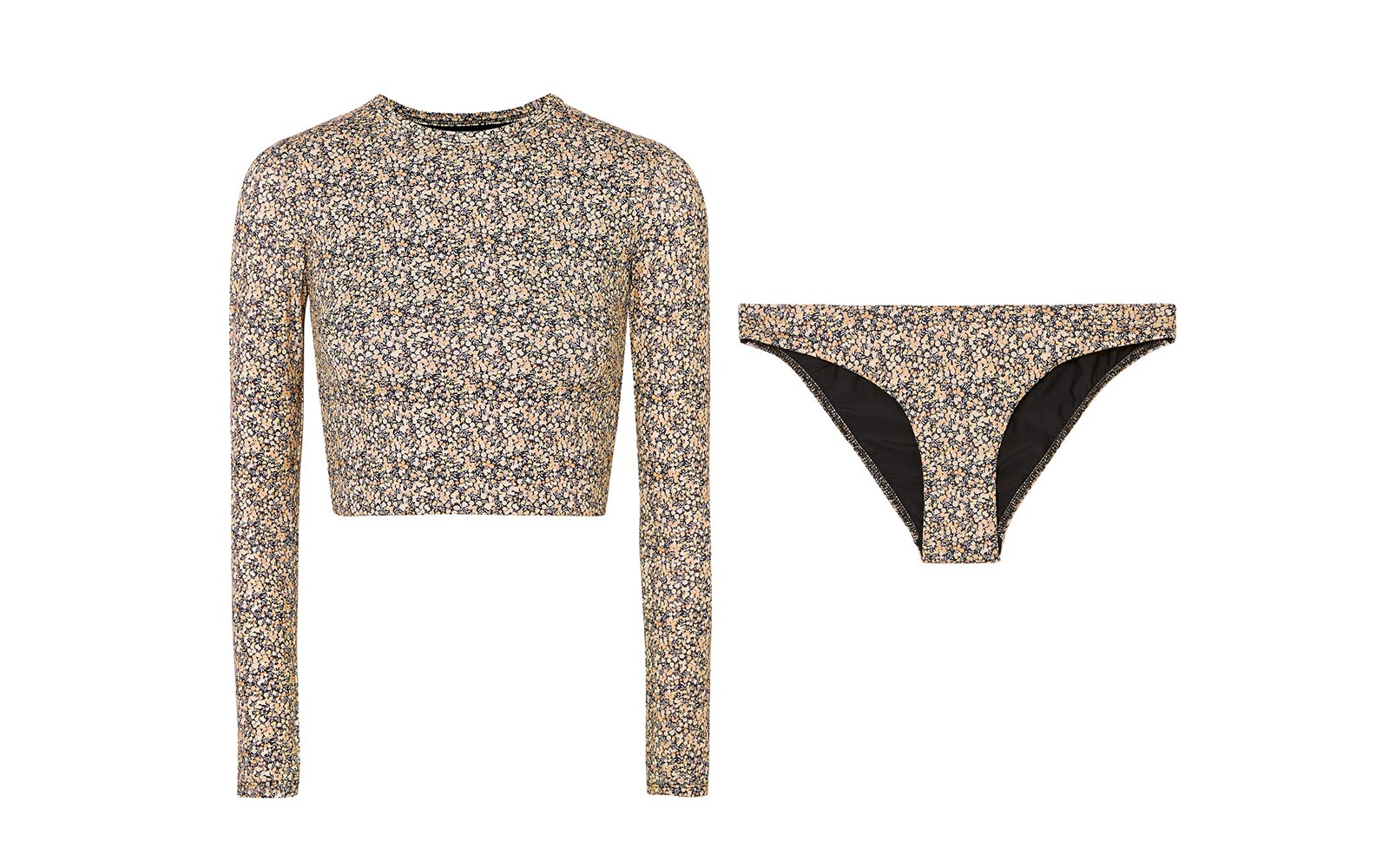 Matteau Sun Tee Printed Cropped Rash Guard and The Classic Printed Bikini Briefs