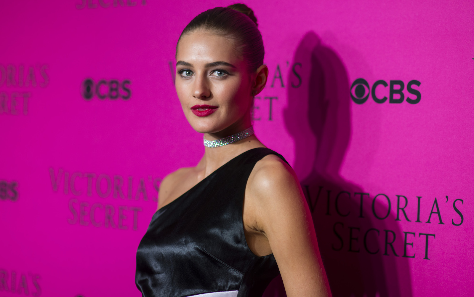 Victoria's Secret model Sanne Vloet poses on the red carpet