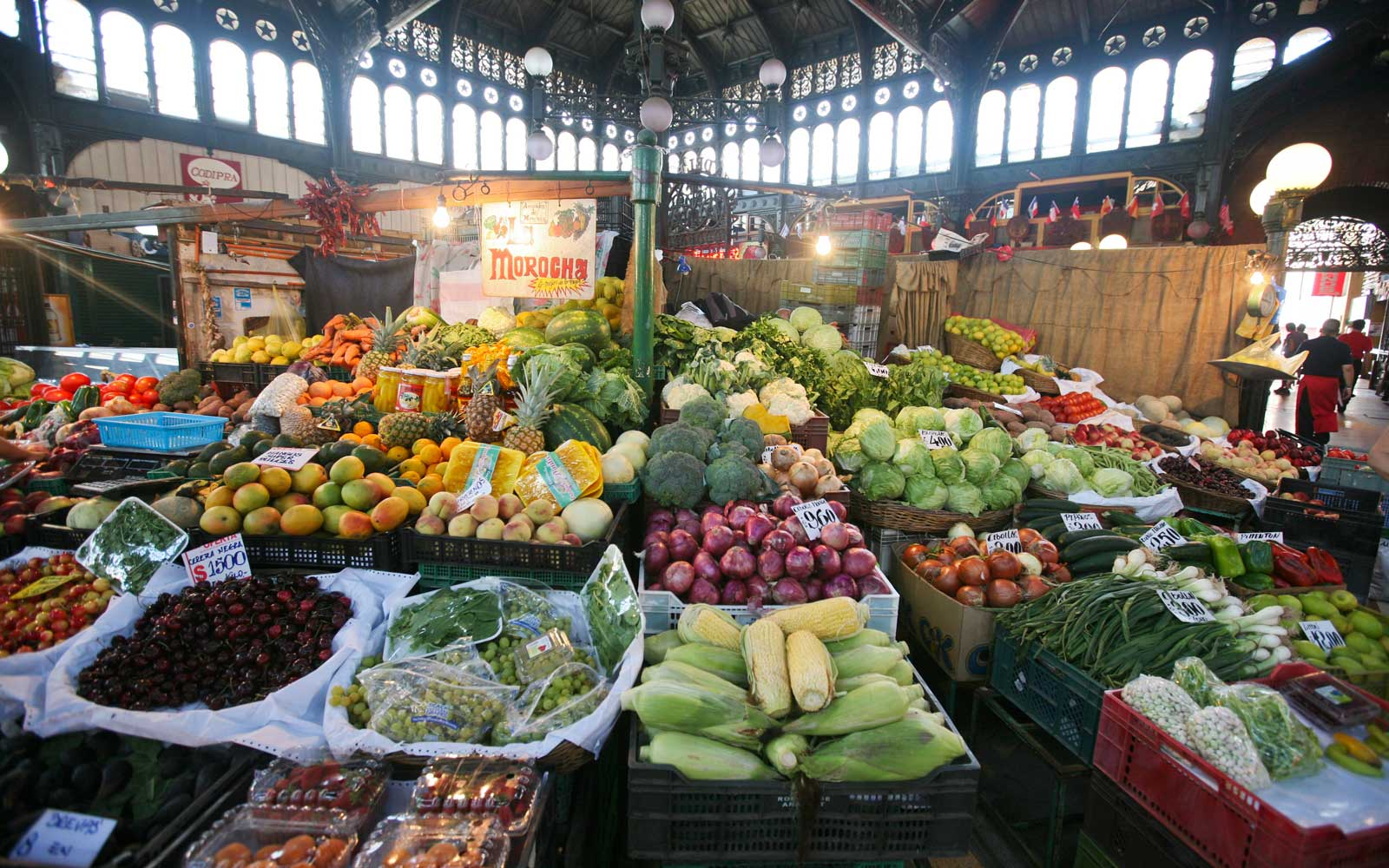 Central Market in Santiago, Chile, with fruits and vegetables