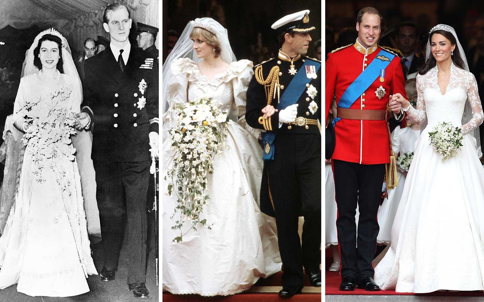 The weddings of Queen Elizabeth to Prince Philip, Prince Charles and Diana, and Will and Kate