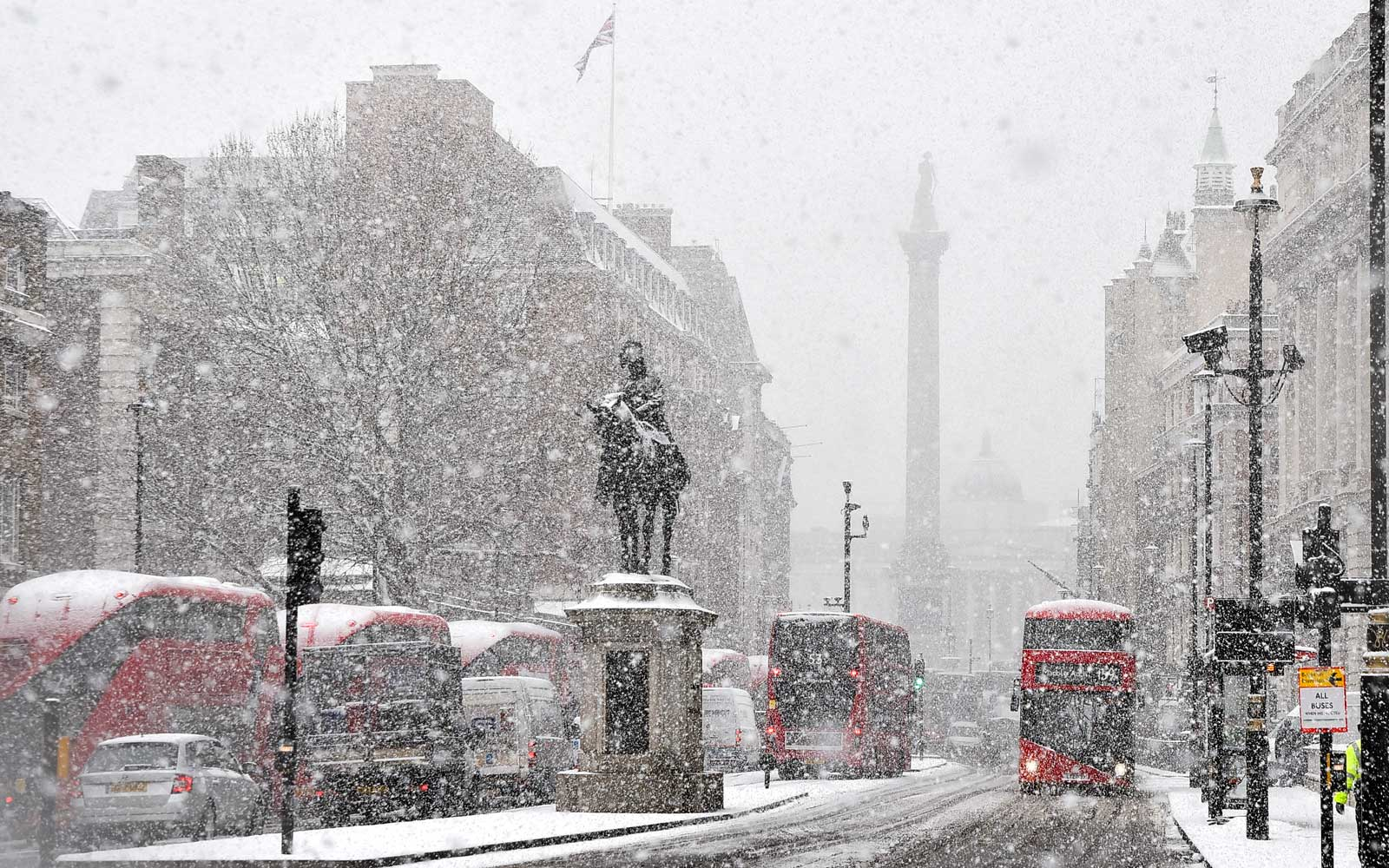 View of Westminster area during a heavy snowfall, London on February 28, 2018.