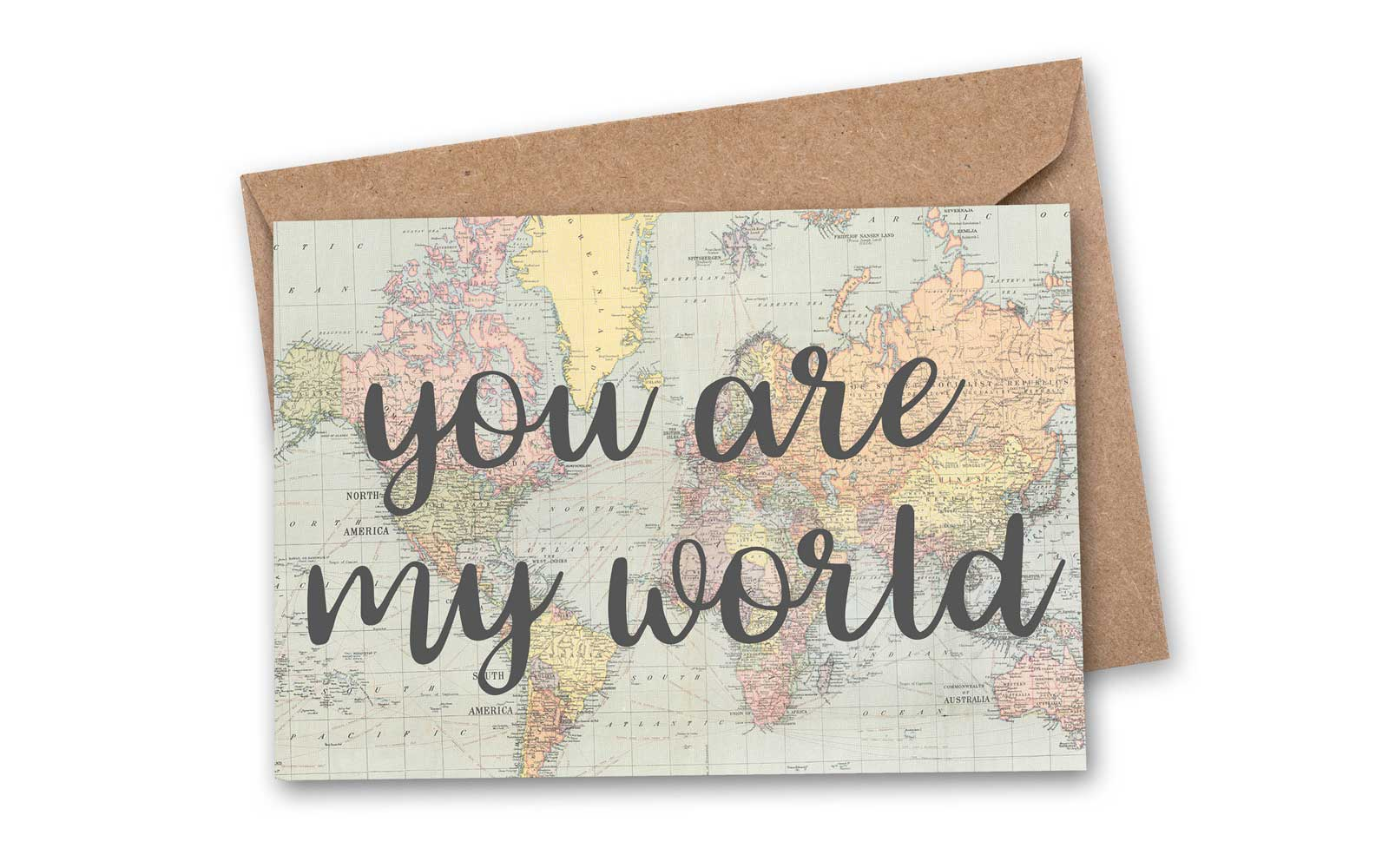 """You are my world"" Valentine card"