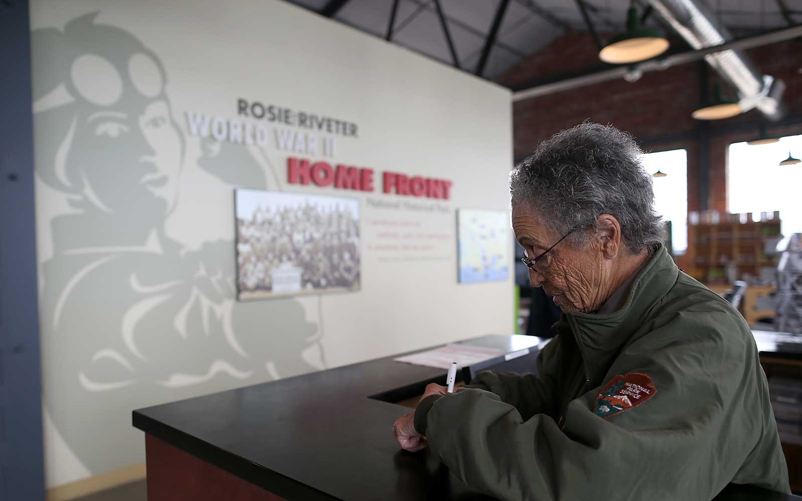 National Park Service ranger Betty Reid Soskin waits for visitors at the Rosie the Riveter/World War II Home Front National Historical Park