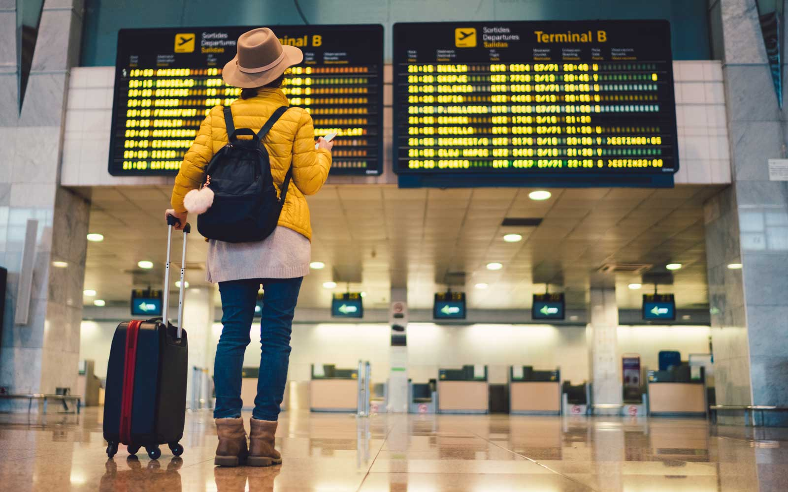 Tourist at Barcelona International Airport Daylight Saving Time