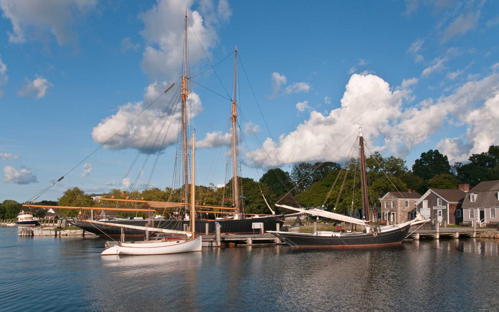 Middle Wharf historic sailing vessels at Mystic Seaport.
