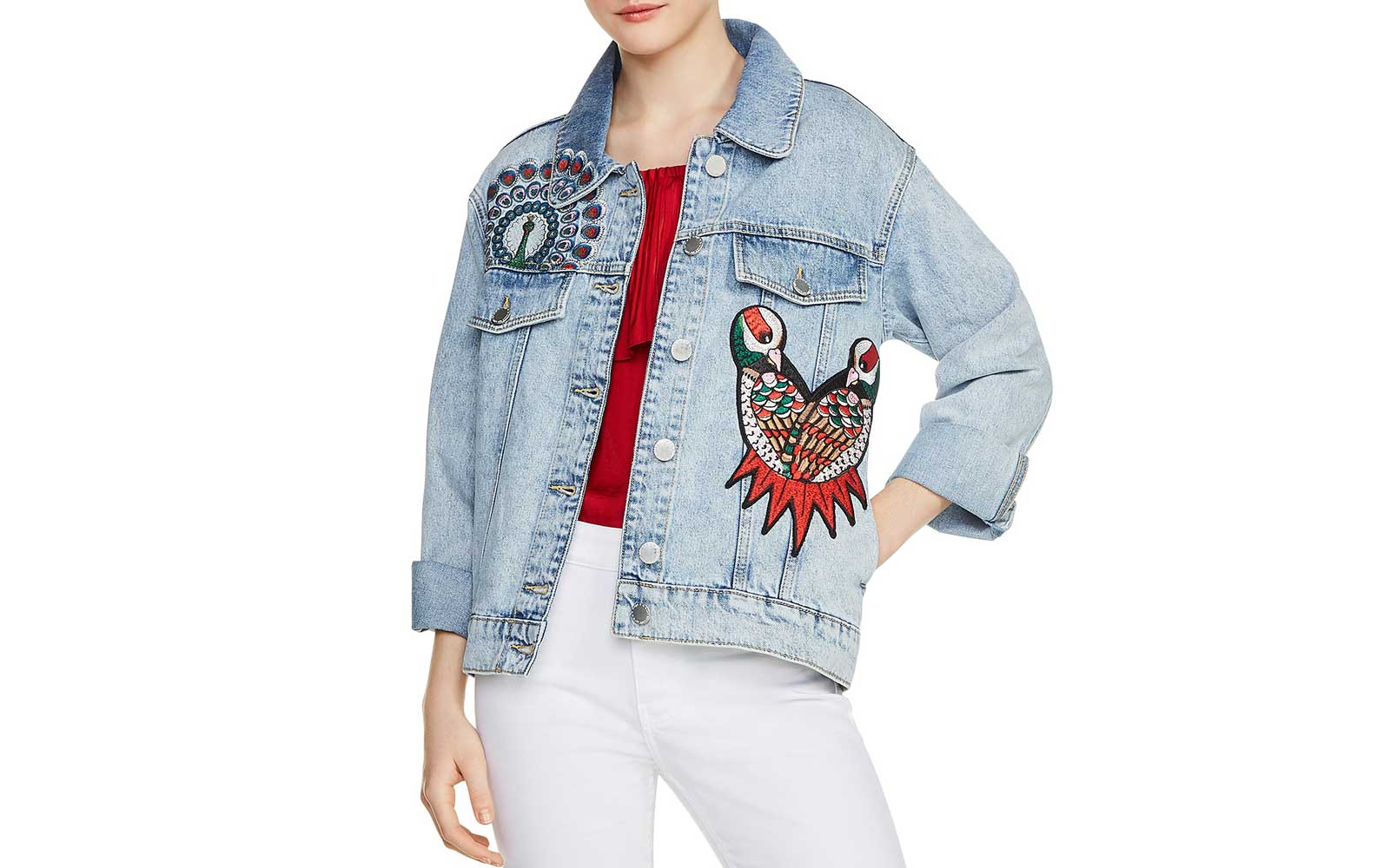 Maje 'Baltimore' Embroidered Denim Jacket