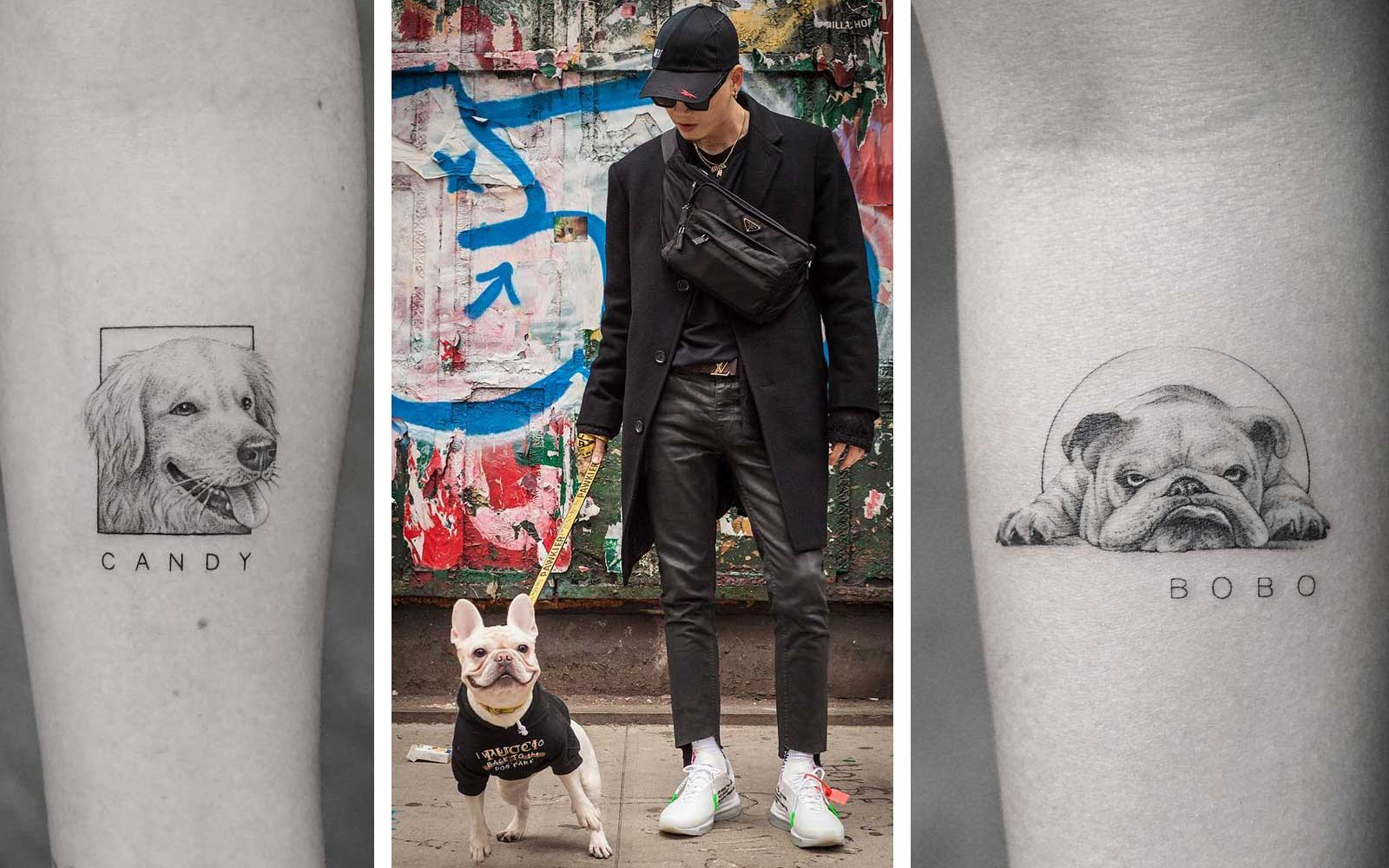 Mr.K Tattoo artist with his dog, Kush