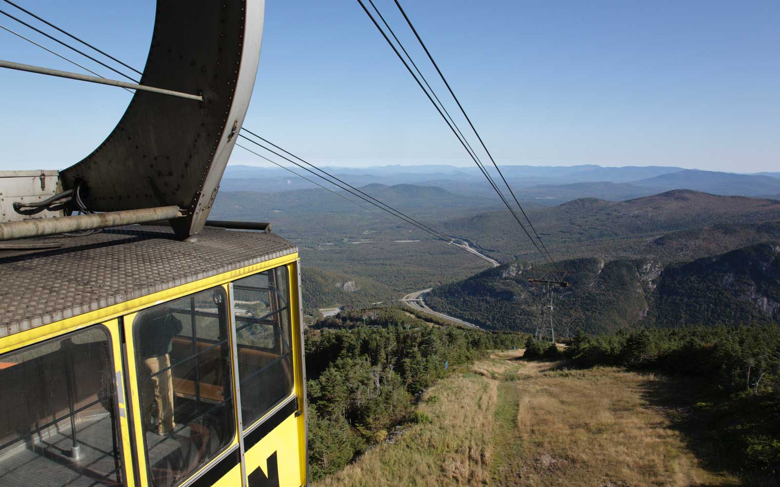 Aerial Tramway at the summit of Cannon Mountain in the White Mountains, Franconia Notch State Park, New Hampshire