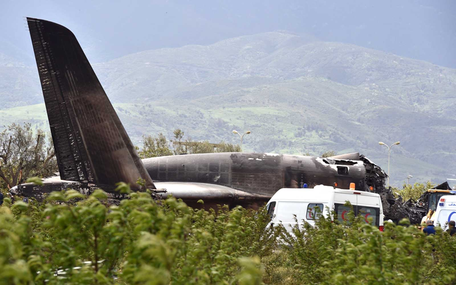 Algerian army plane which crashed near the Boufarik airbase from where the plane had taken off on April 11, 2018.