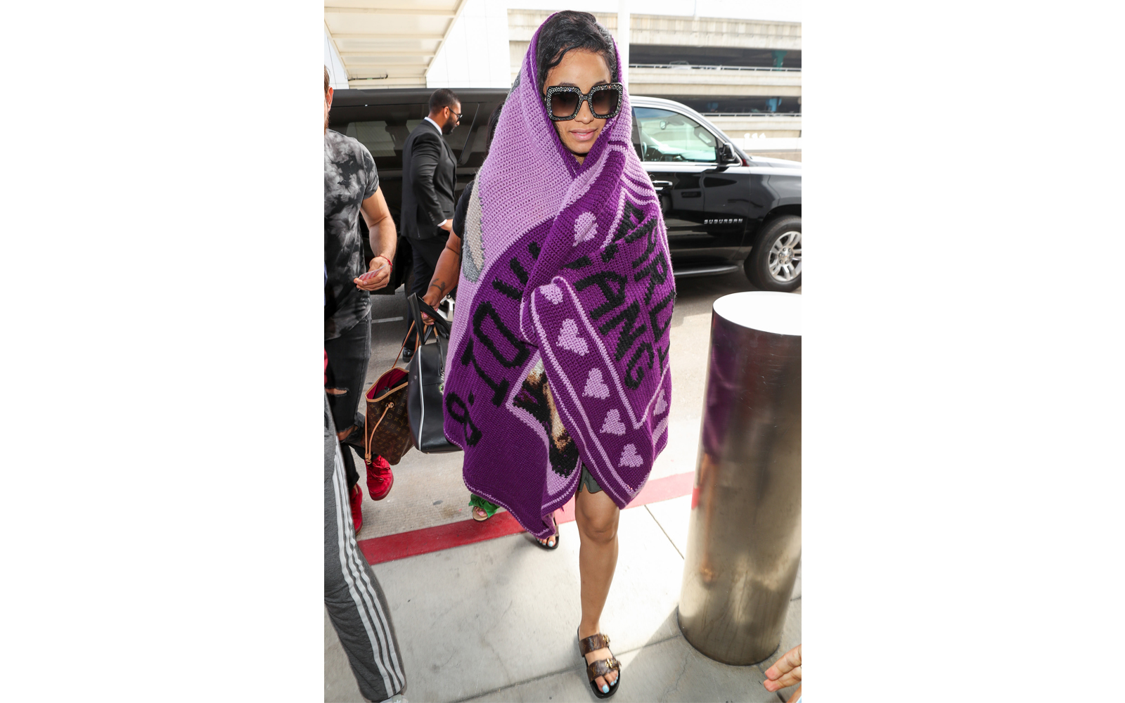 Cardi B Wears Blanket to LAX Airport