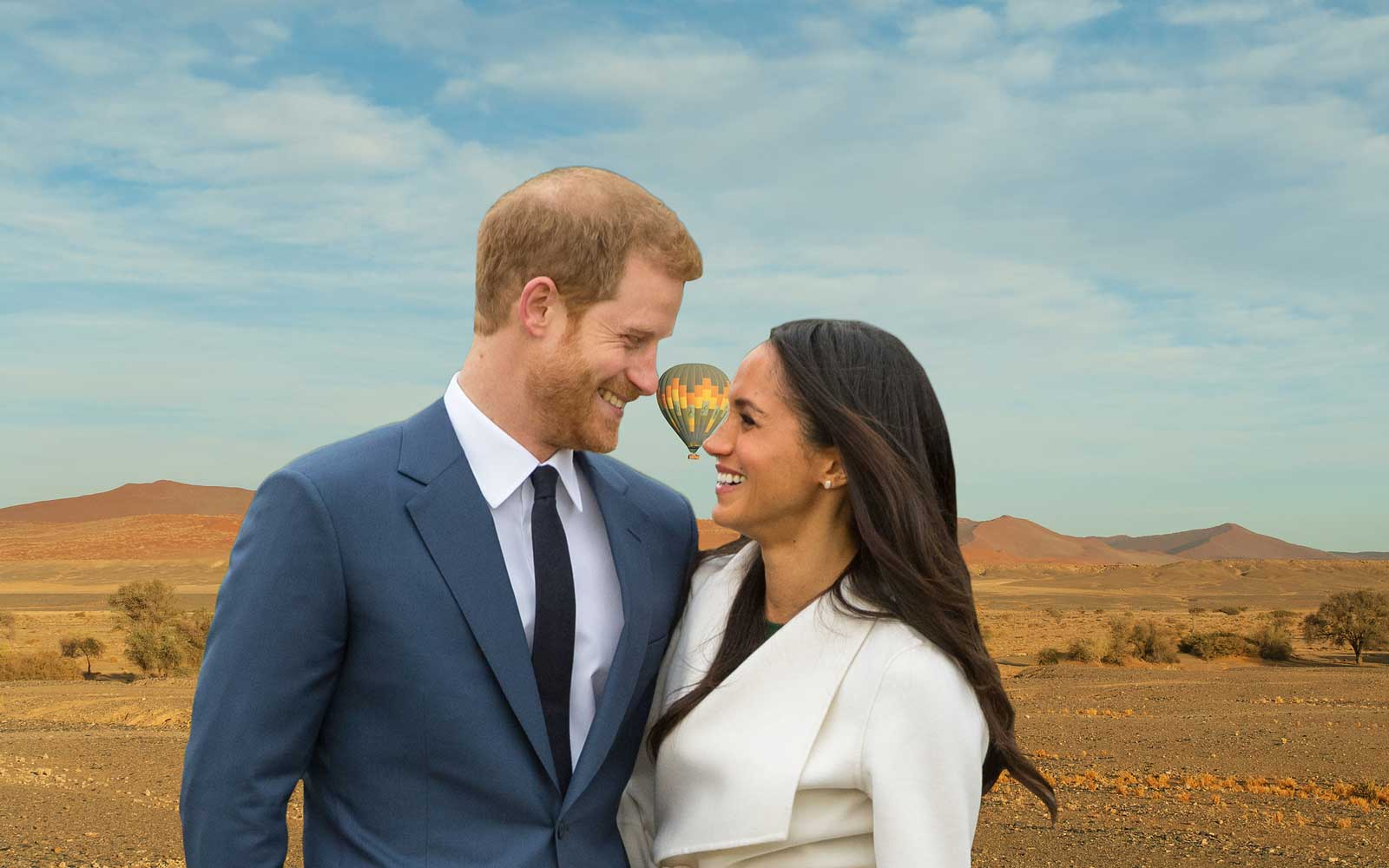 Prince Harry and Meghan Markle with Namibia behind