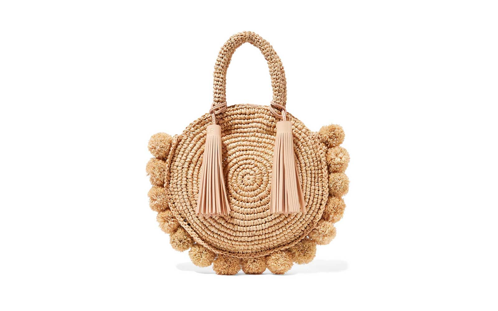 Loeffler Randall Circle Pompom-embellished Straw Bag