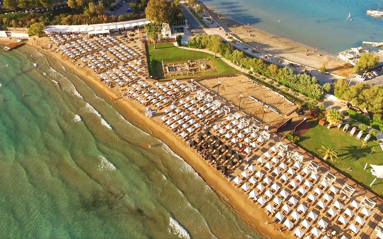 Aerial view of Astir Beach in Athens, Greece