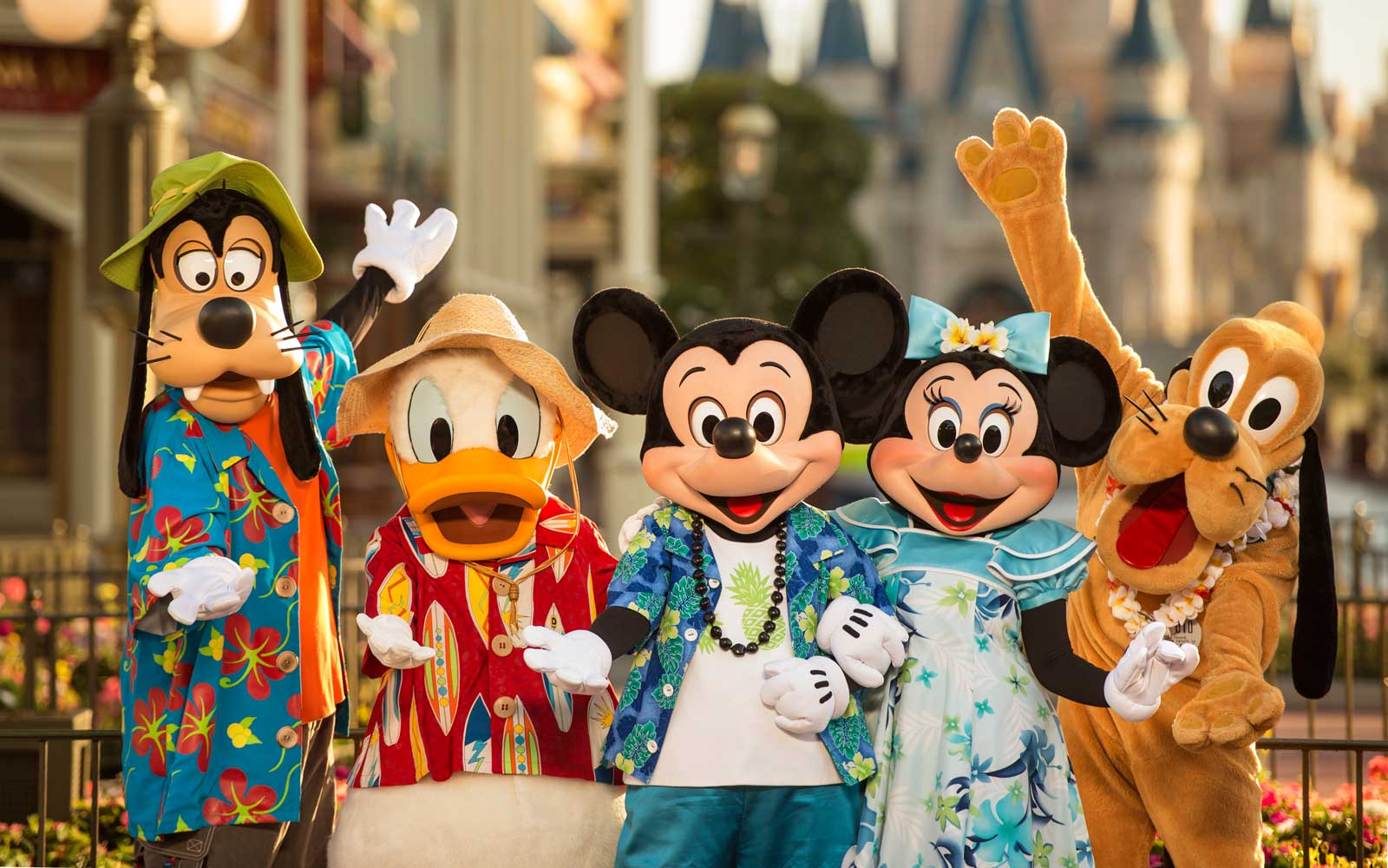 Goofy, Donald Duck, Mickey Mouse, Minnie Mouse, and Pluto