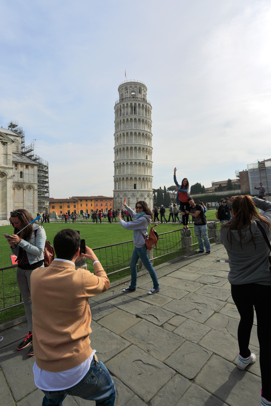 Summer, Cathedral and Leaning Tower of Pisa, with tourists, Square of Miracles, Pisa city, UNESCO World Heritage Site, Tuscany, Italy, Europe.