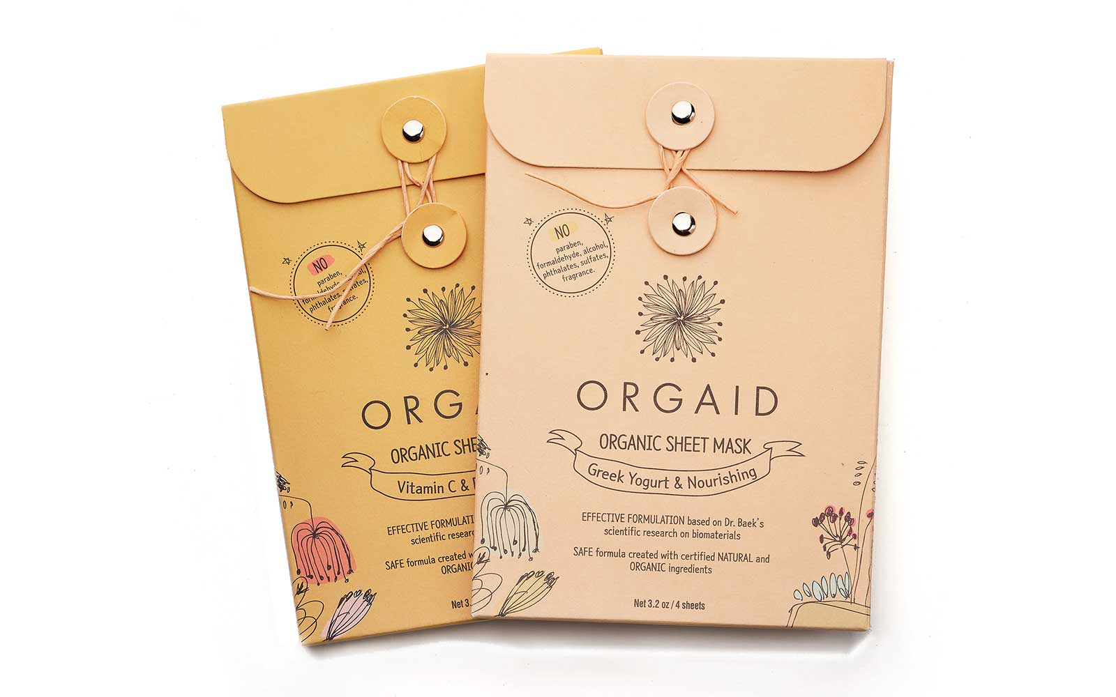 Orgaid organic sheet masks