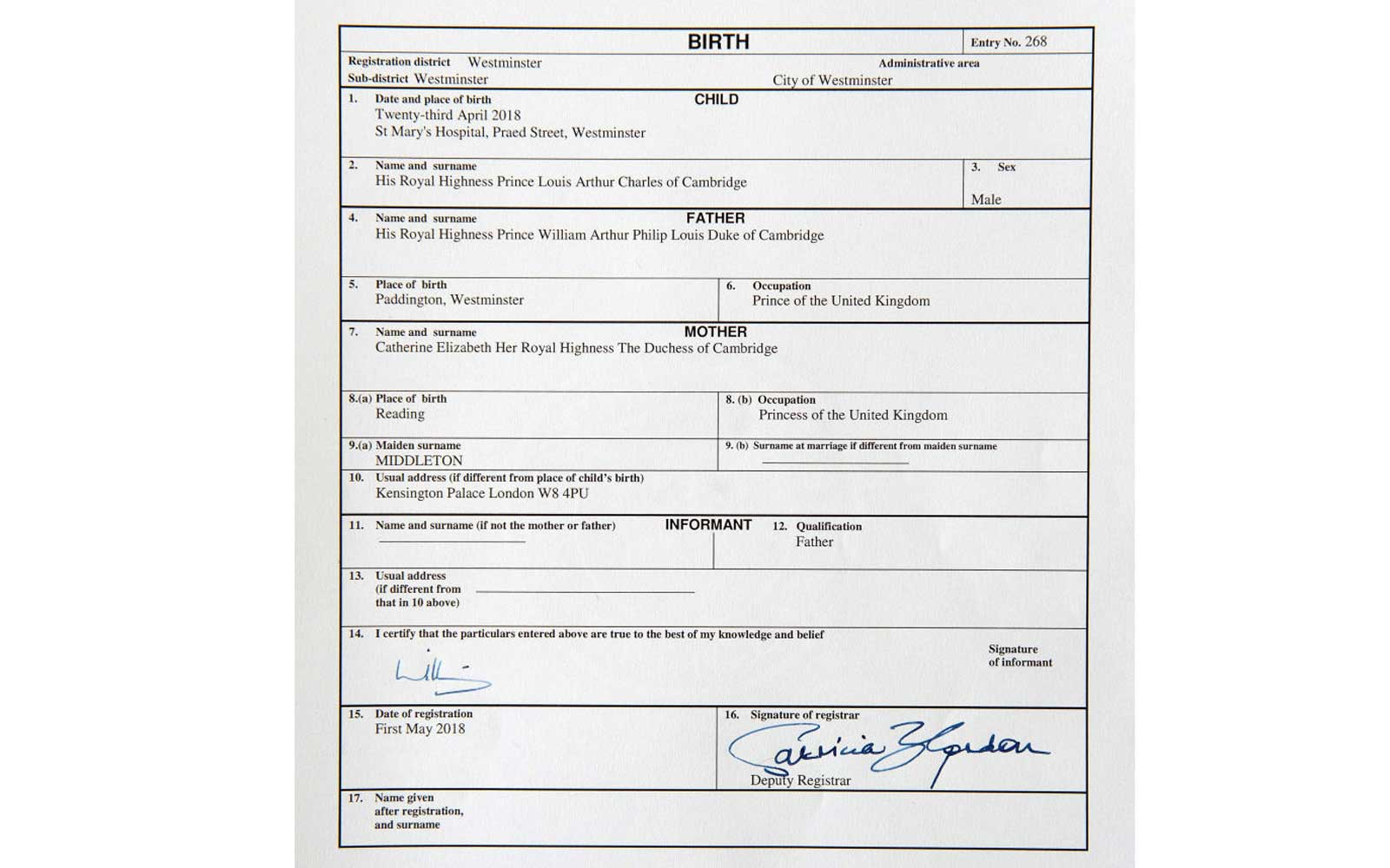 The Duke and Duchess of Cambridge Register The Birth of Their Son Prince Louis Arthur Charles of Cambridge