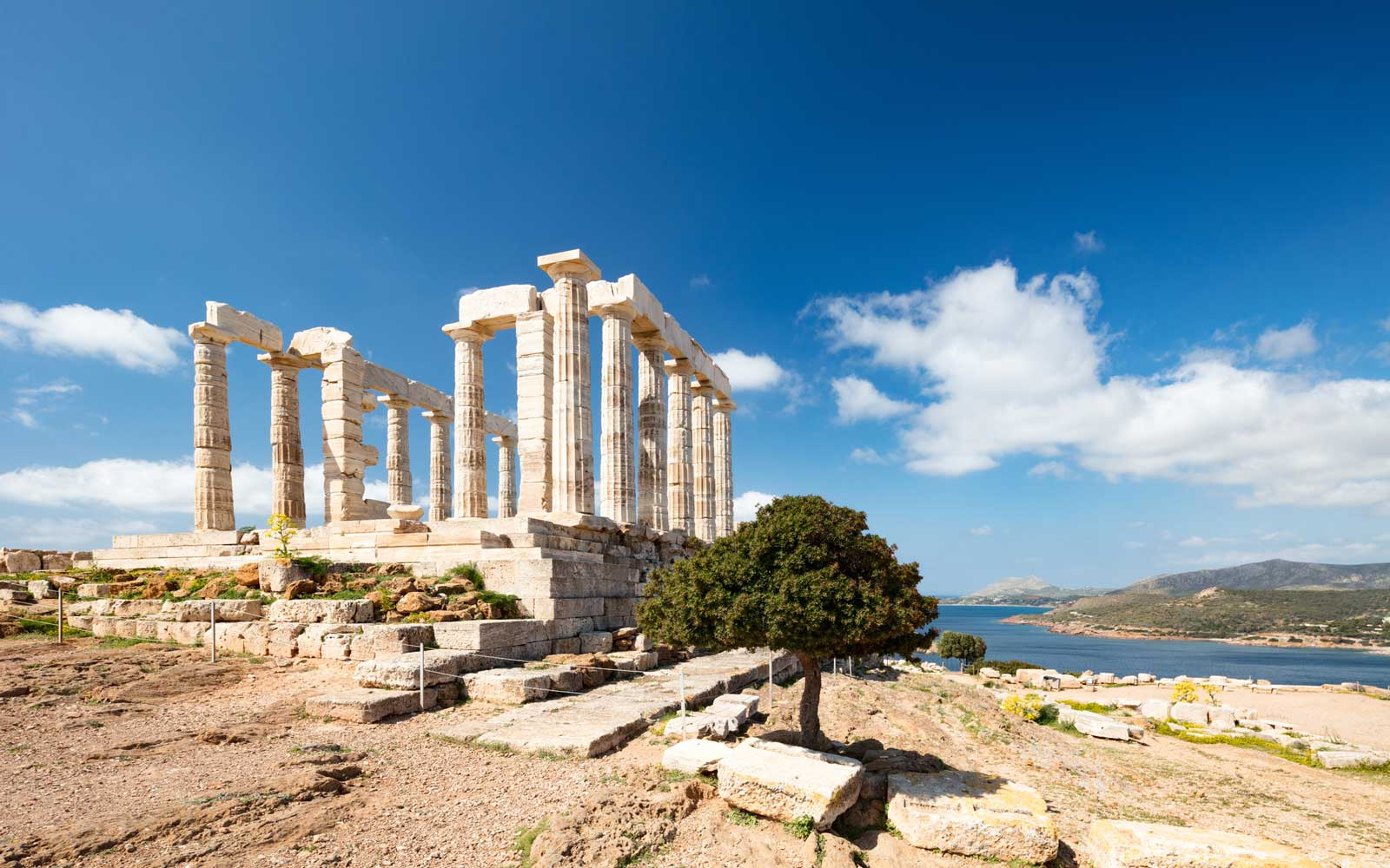 Remains of The Temple of Poseidon on Cape Suonion, Greece