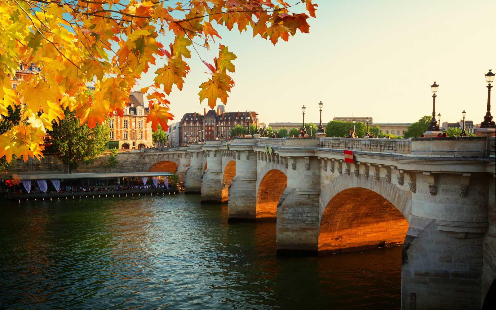 Pont Neuf at sunny autumn sunset, Paris, France