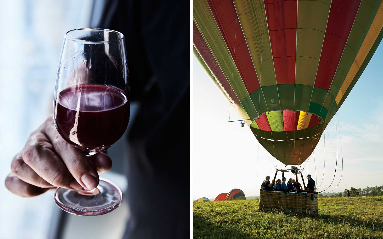 Wine and hot air balloons in Hunter Valley region, NSW, Australia