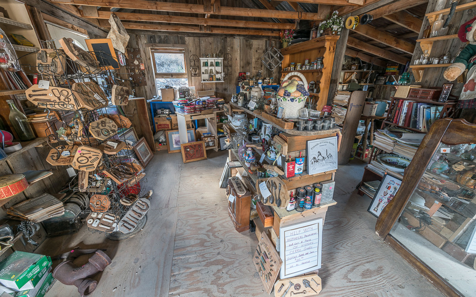 Artifacts inside the museum of the historic ghost town of Cerro Gordo, California.