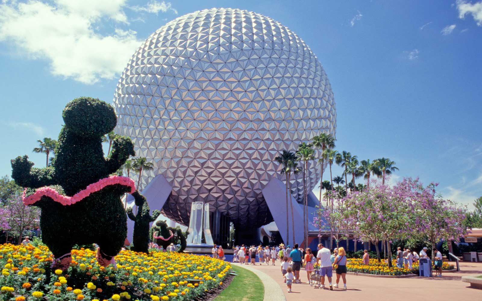Florida, Orlando, Epcot Center, View Including Sphere And Topiary.