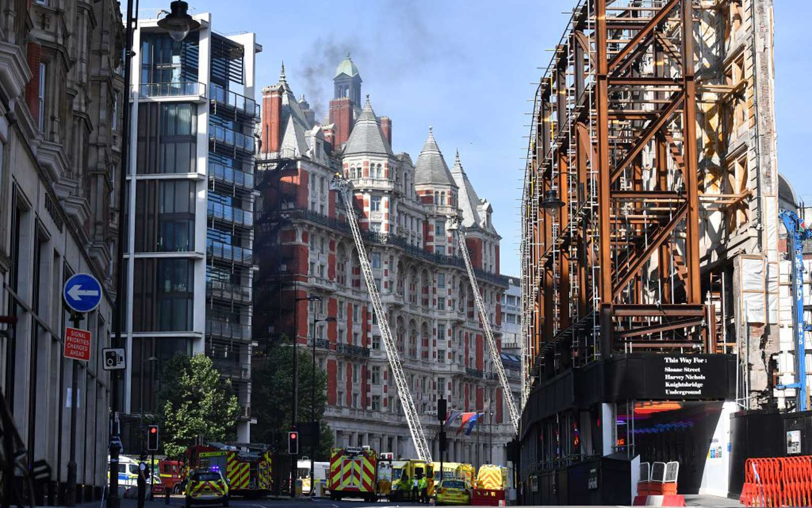 Firefighters tackle a blaze at the Mandarin Oriental hotel in central London