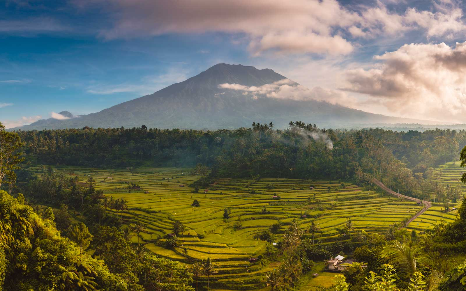 Mount Agung (Gunung Agung) and the Sidemen valley. Bali