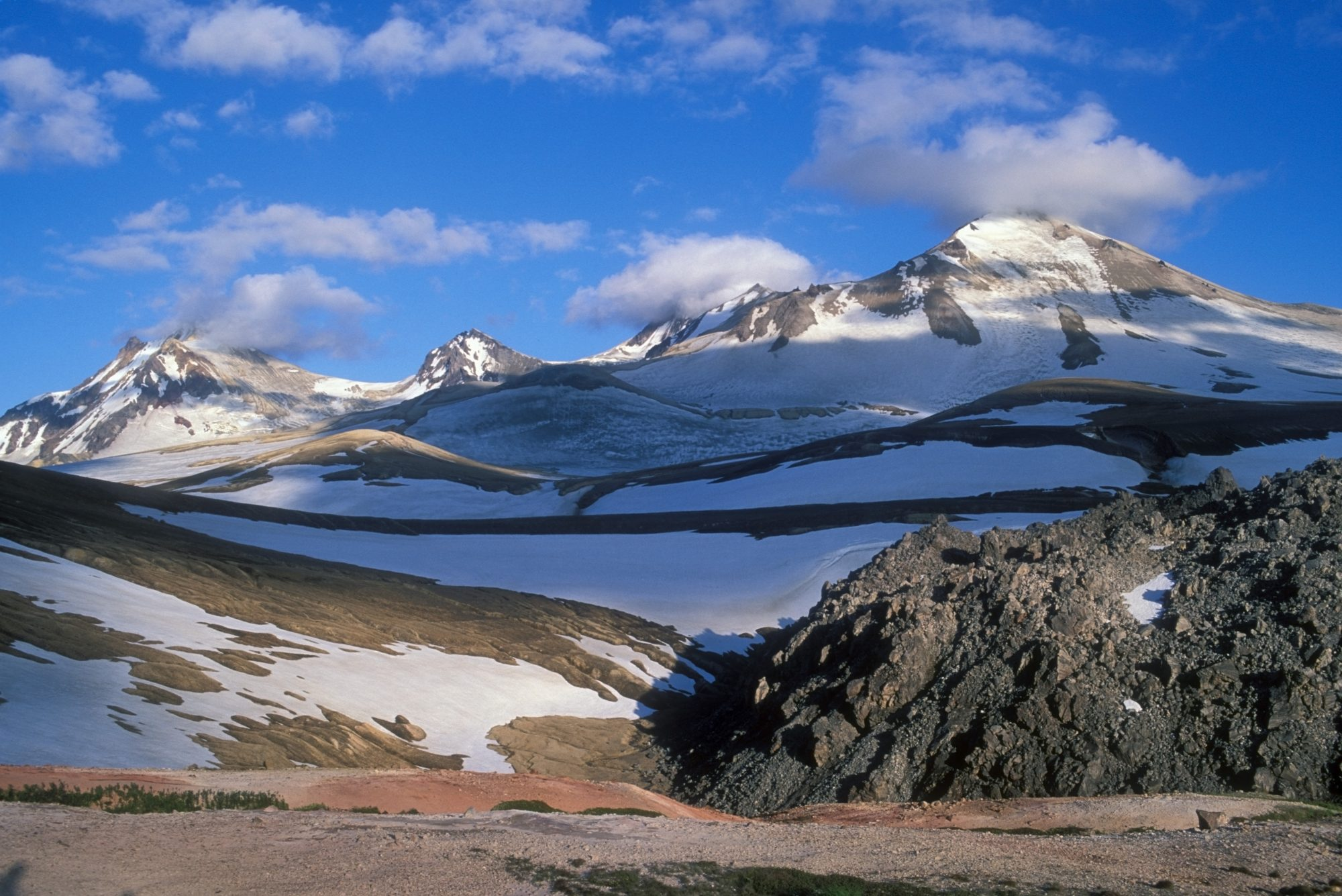 Scenic View Of The Novarupta Volcano Lava Dome With Mount Katmai And Trident Volcanoes In The Background In The Valley Of 10,000 Smokes, Katmai National Park