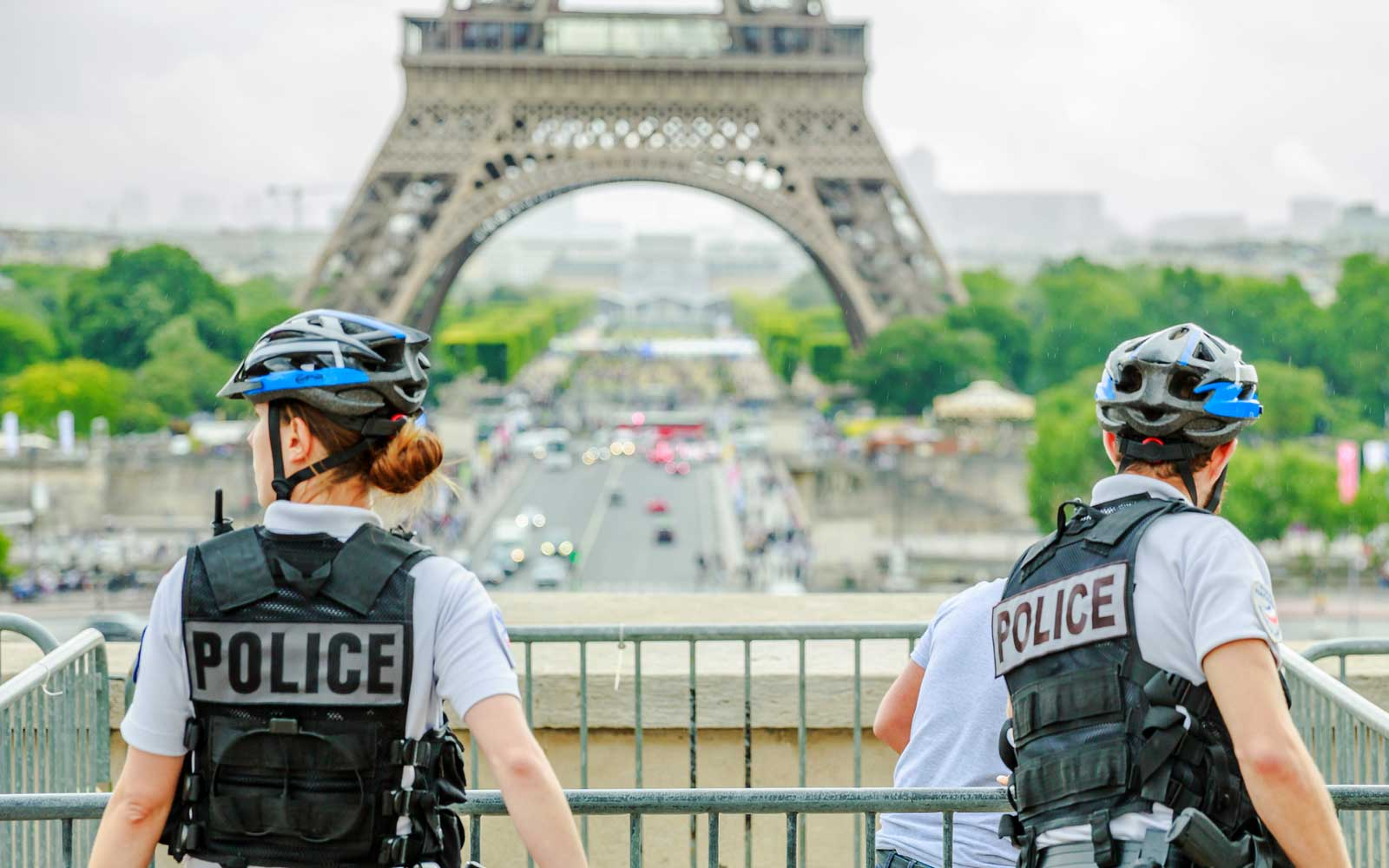 Police on patrol near Eiffel Tower in Paris, France