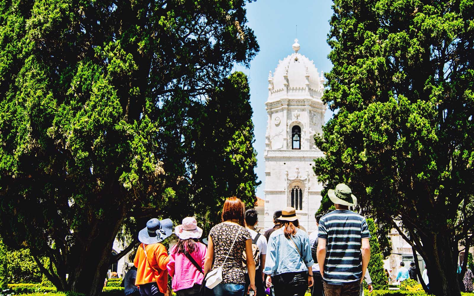 Tourists Looking At Jeronimos Monastery