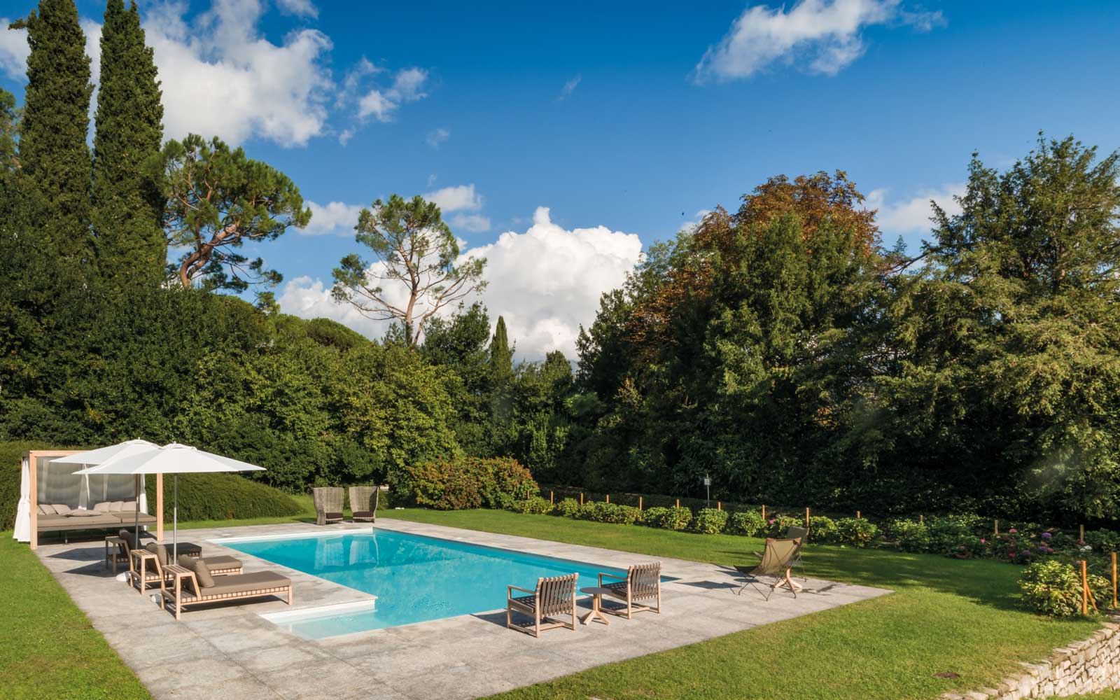 View of the pool at the Villa Sola Cabiati, on Lake Como, Italy