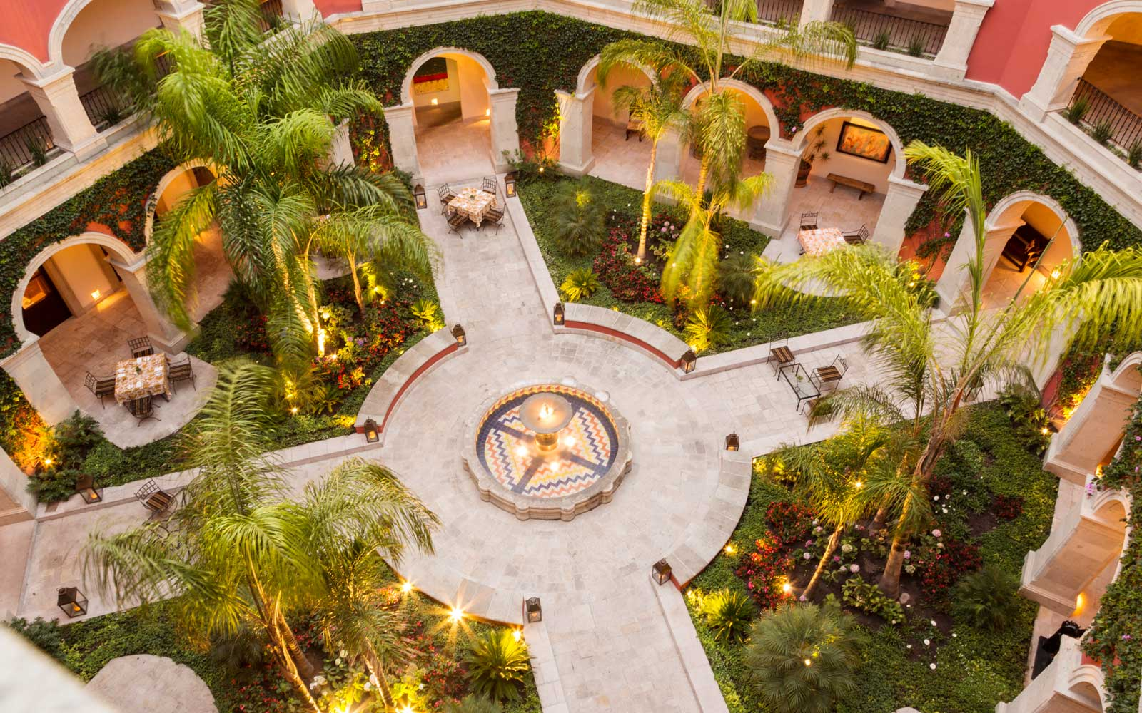 View of the interior courtyard car at Rosewood San Miguel de Allende
