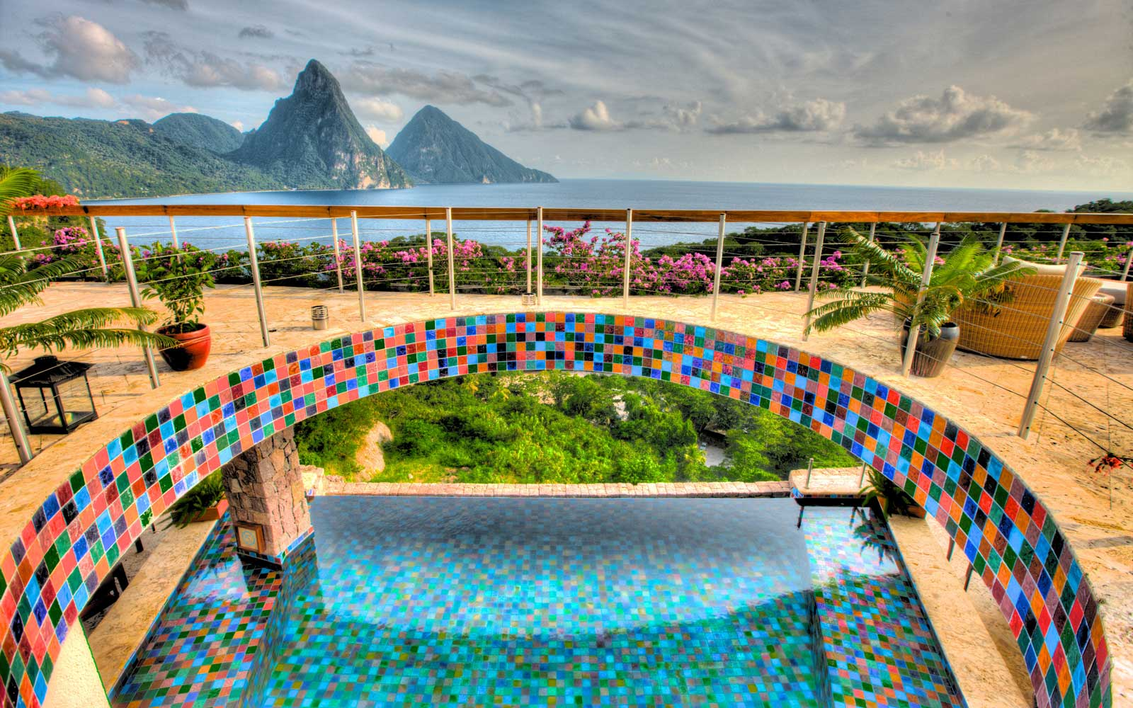 Aerial shot of the Jade Mountain