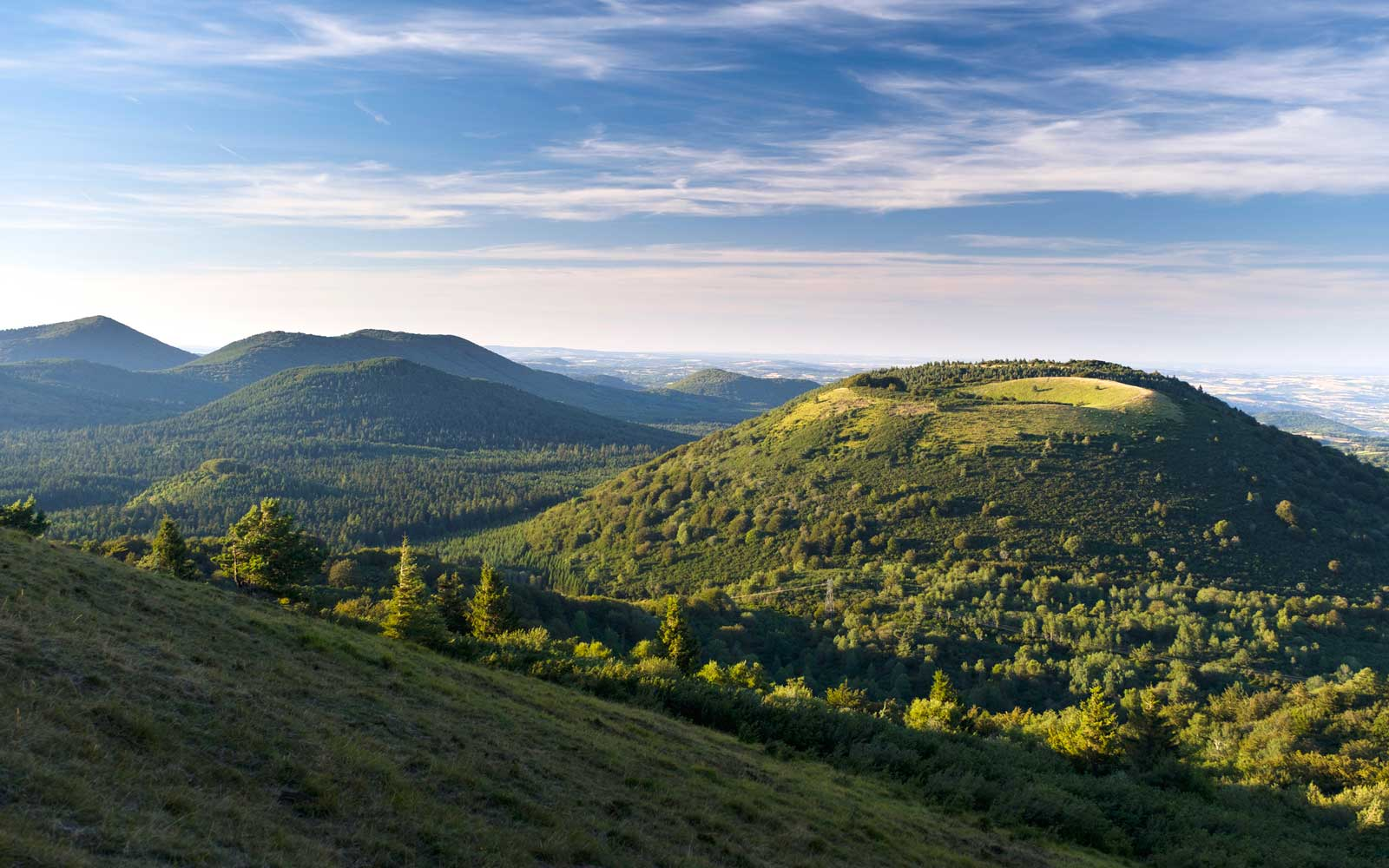 Regional Nature Park of the Volcanoes of Auvergne.  An elevated view of the Chaîne des Puys viewed from near the summit of Puy de Pariou.