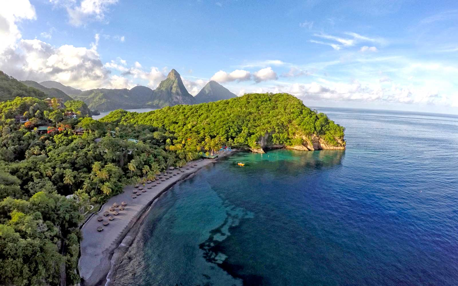 Aerial view of the Anse Chastanet resort complex in St Lucia