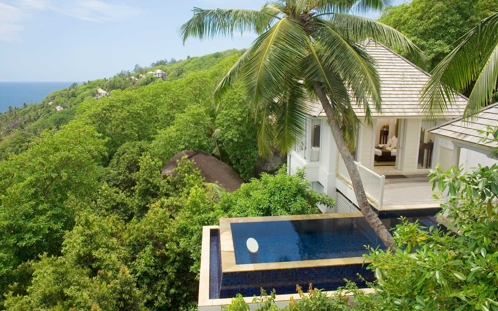 View of a villa at the Banyan Tree in the Seychelles