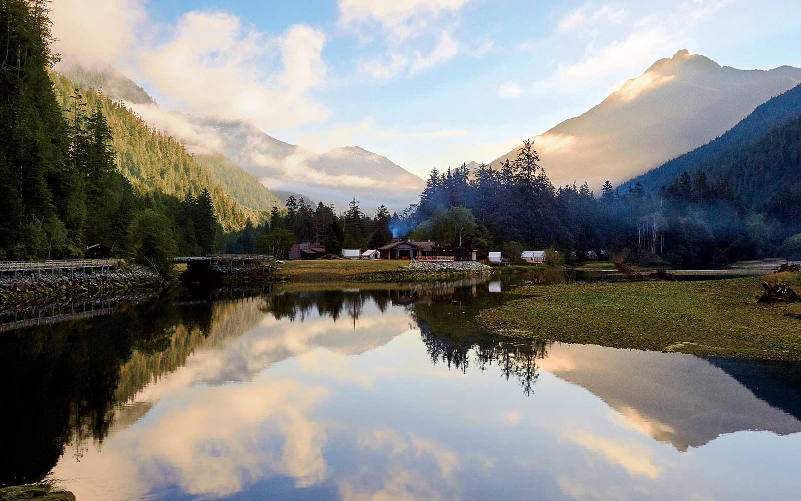 The main camp at the Clayoquot Wilderness Resort in British Columbia