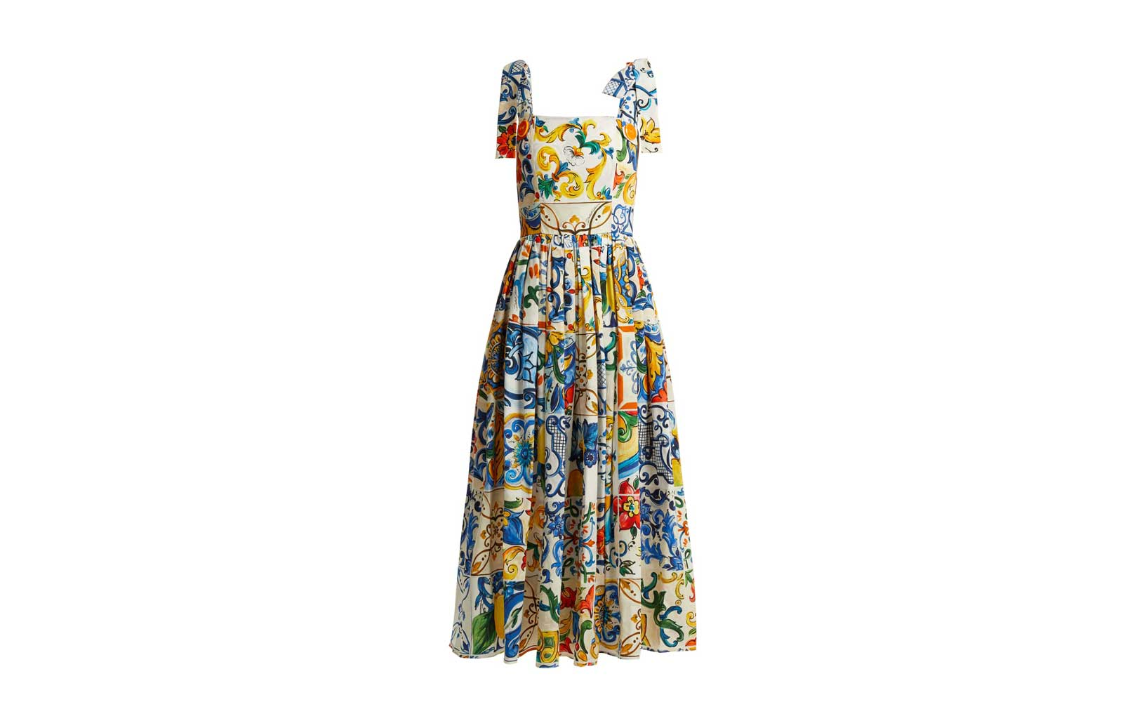 Dolce & Gabbana Majolica-Print Cotton Poplin Midi Dress