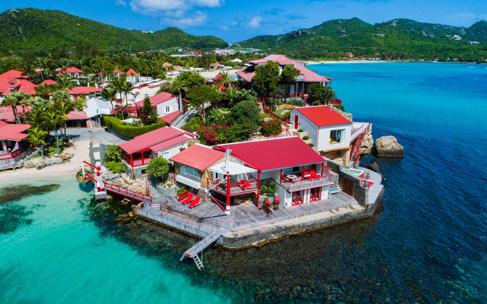 Aerial view of the Eden Rock resort in St Barth's