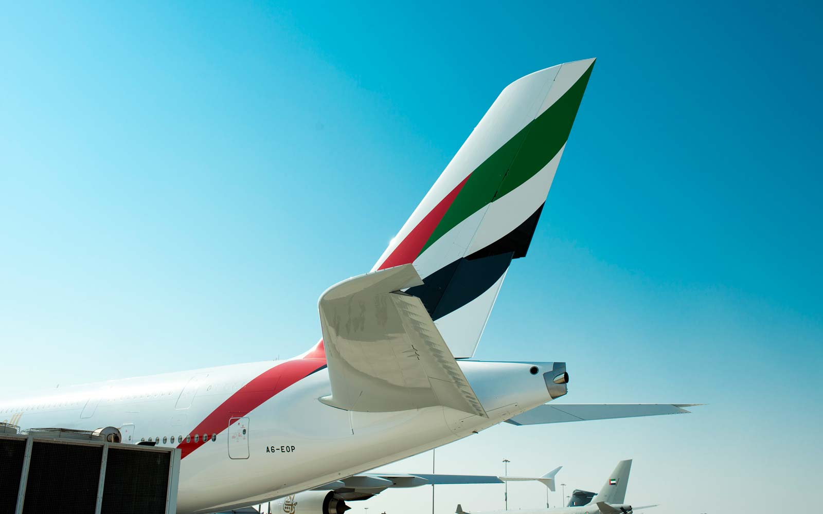 Tail of an Airbus A380 operated by Emirates at the Dubai Airshow