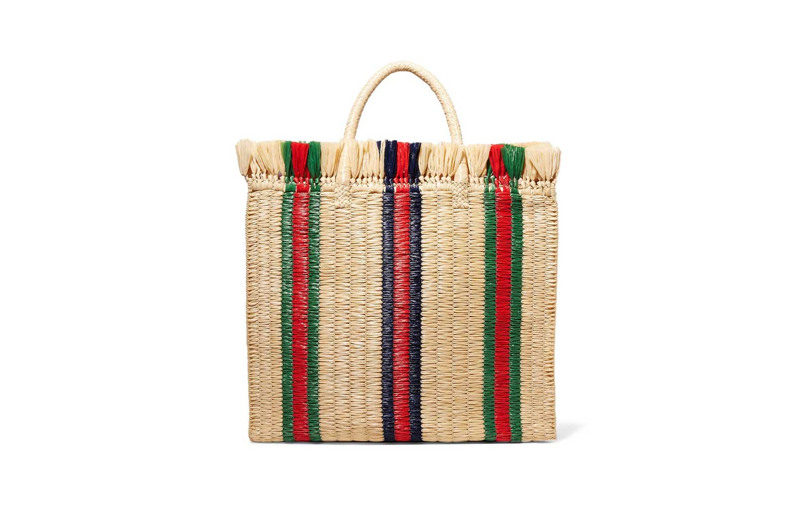 Gucci Striped Raffia Tote