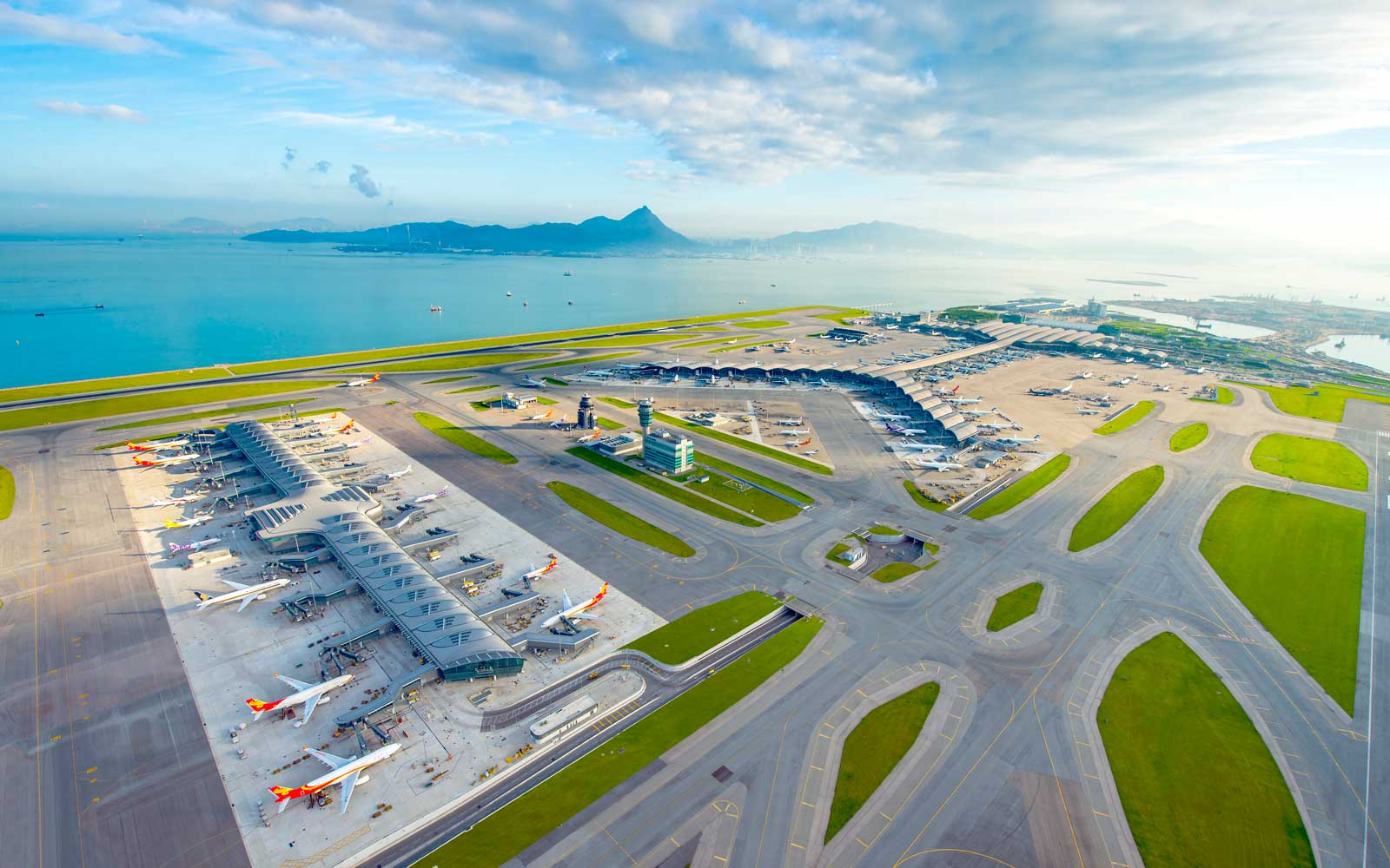 Aerial view of Hong Kong International Airport
