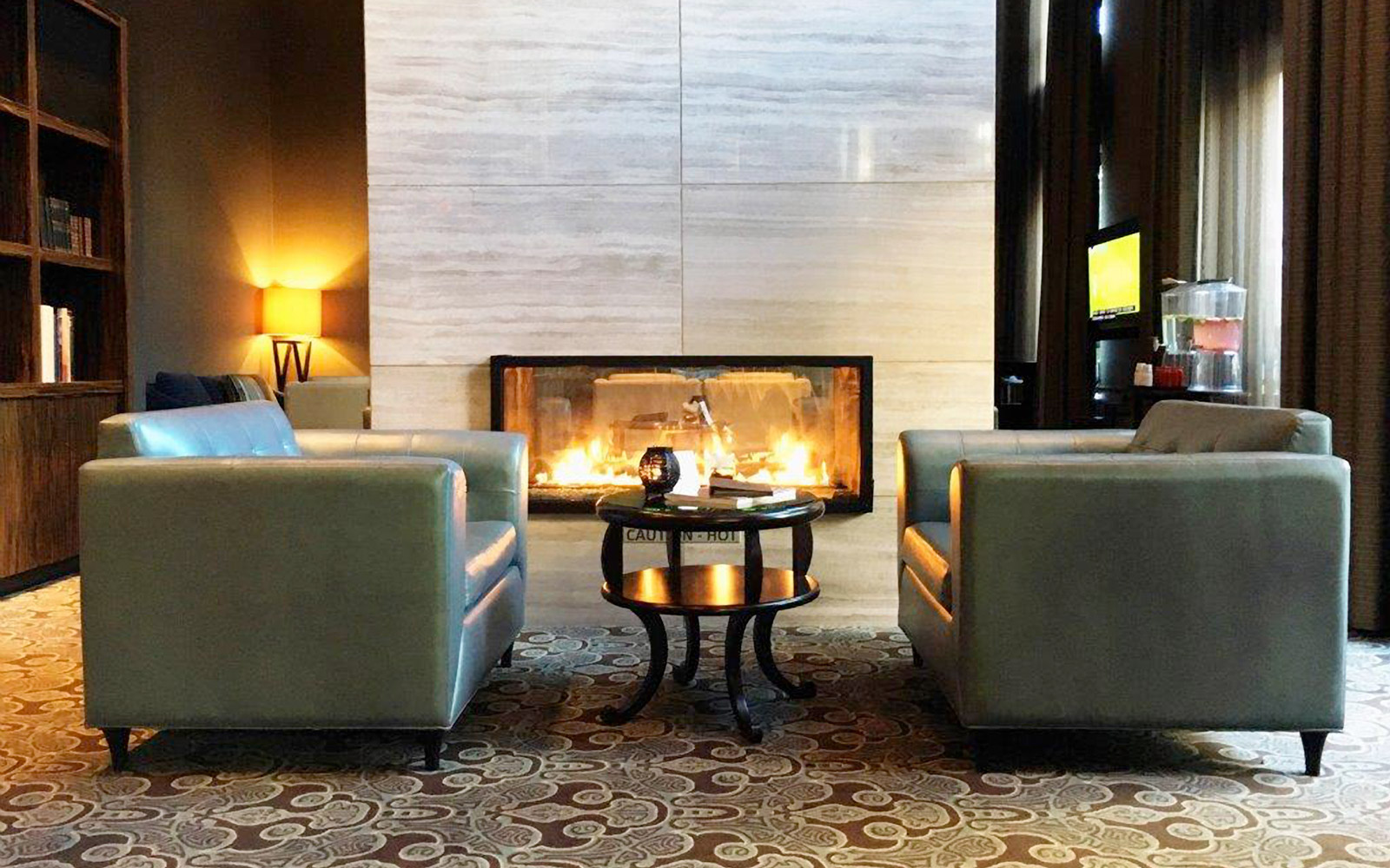 Fireplace at the L'Hermitage hotel in Vancouver