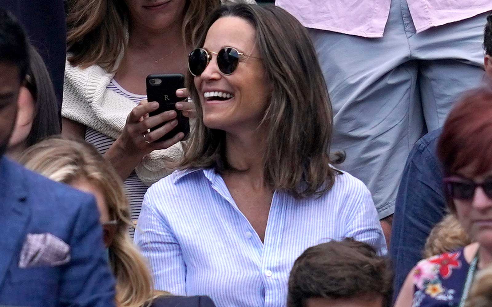 Pippa Matthews and James Middleton in the stands of court one on day nine of the Wimbledon Championships