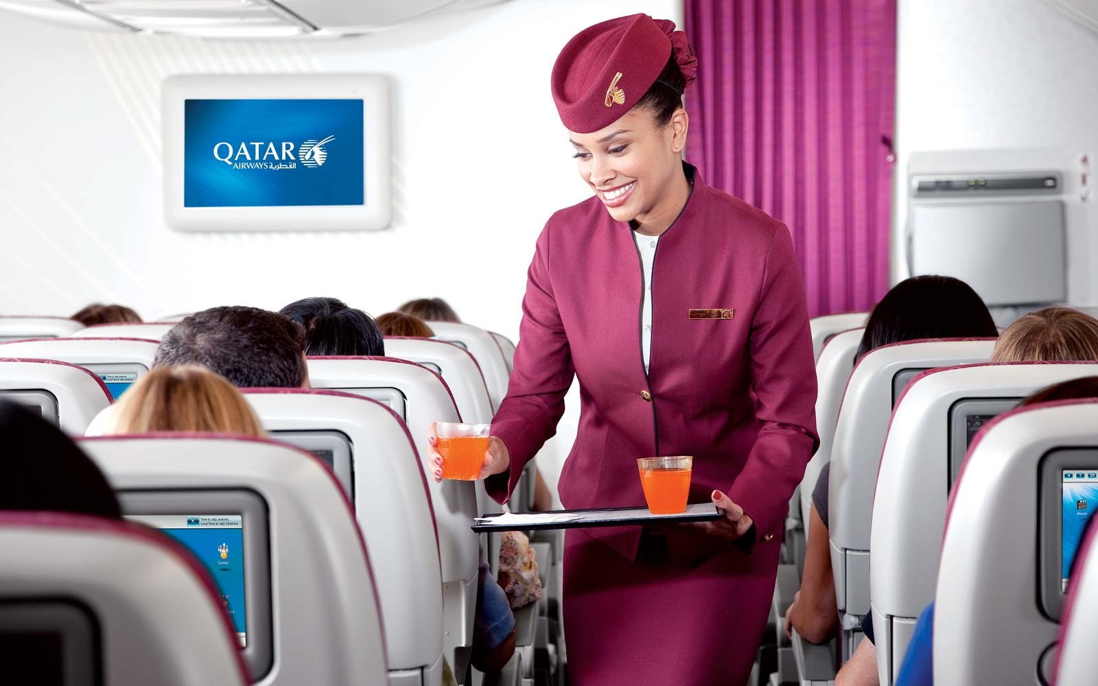 Cabin service on a Qatar Airways flight