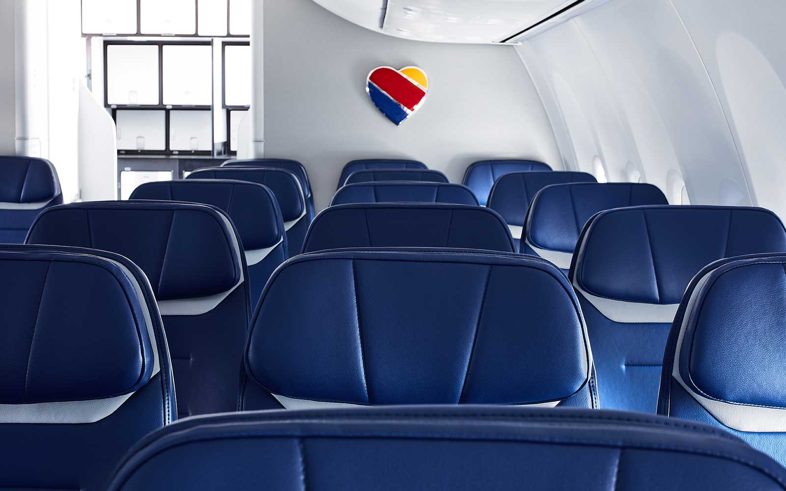 Interior detail of a Southwest Airlines plane cabin