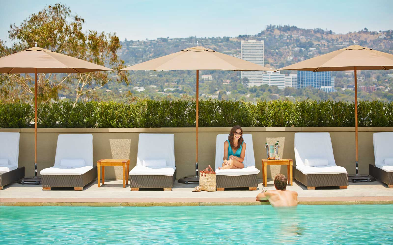 Pool at Viceroy L'Ermitage hotel in Beverly Hills