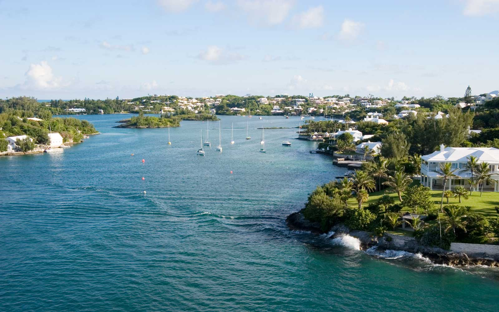 Waterway near entrance to Hamilton harbor in Bermuda.
