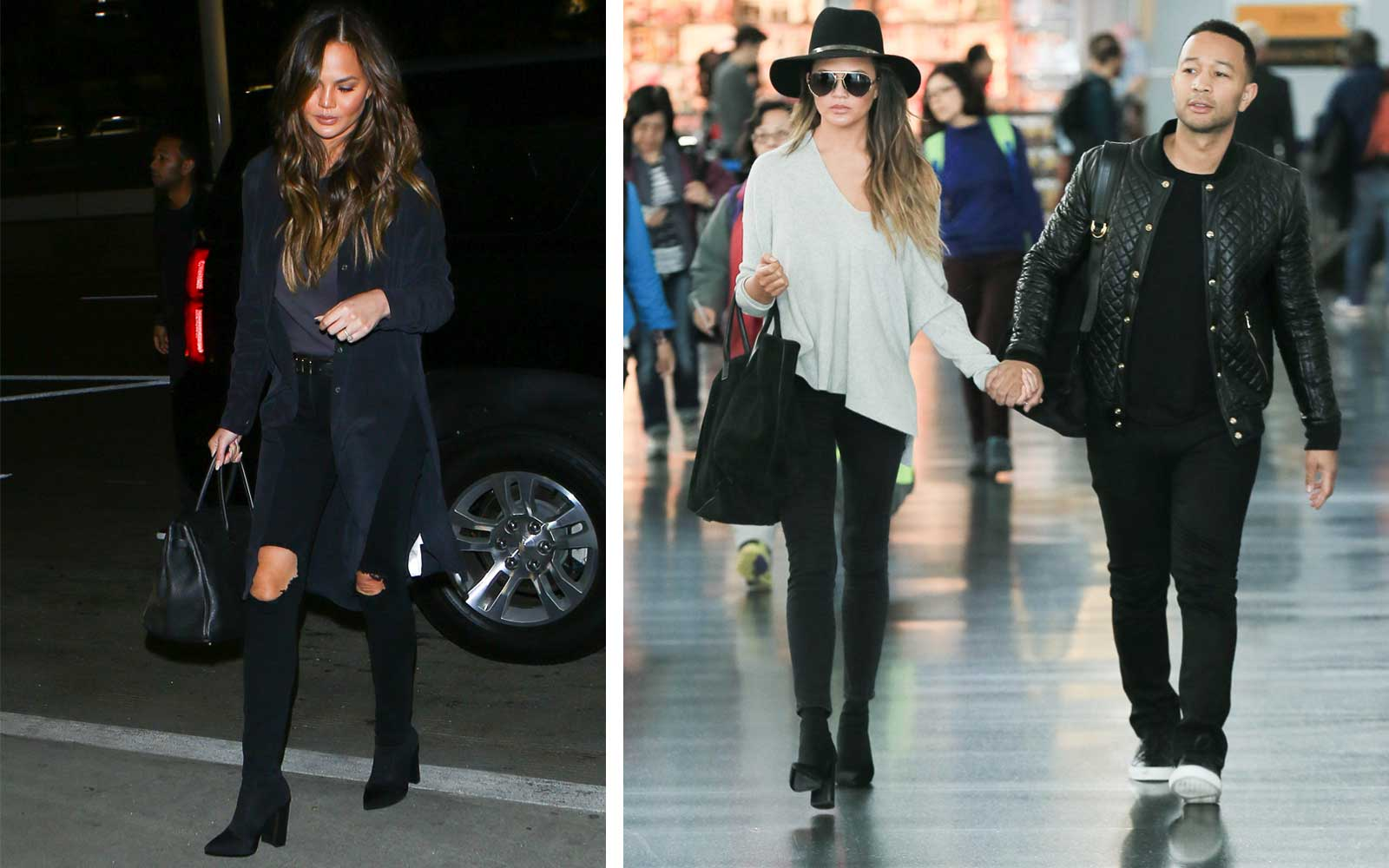Chrissy Teigen Airport Shoes